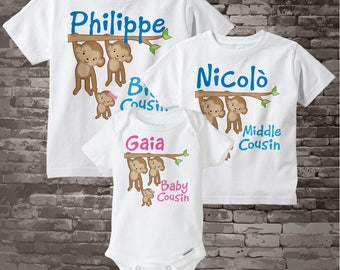 Set of Three Personalized Big Cousin, Middle Cousin, and Little Cousin Monkey Girl Tee Shirts or Onesies (04232013b)
