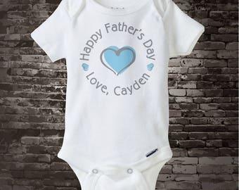 Happy Father's Day Onesie,  New Dad Gift, Personalized Fathers Day Onesie or Tee shirt with Blue Heart 03112014c