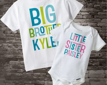 Big Brother Little Sister Shirt set of 2, Sibling Shirt, Personalized Tshirt with Letters 07082015a