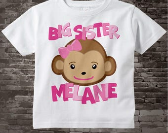 Big Sister Monkey Onesie, Big Sister Monkey Shirt, Personalized Big Sister Monkey Tee Shirt or Onesie 02202012a