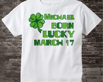 March 17, St Patrick's Day, Birthday Shirt, Shamrock Birthday Shirt, Personalized Shirt with Name, Tee or Infant Onesie for kids 03022012a
