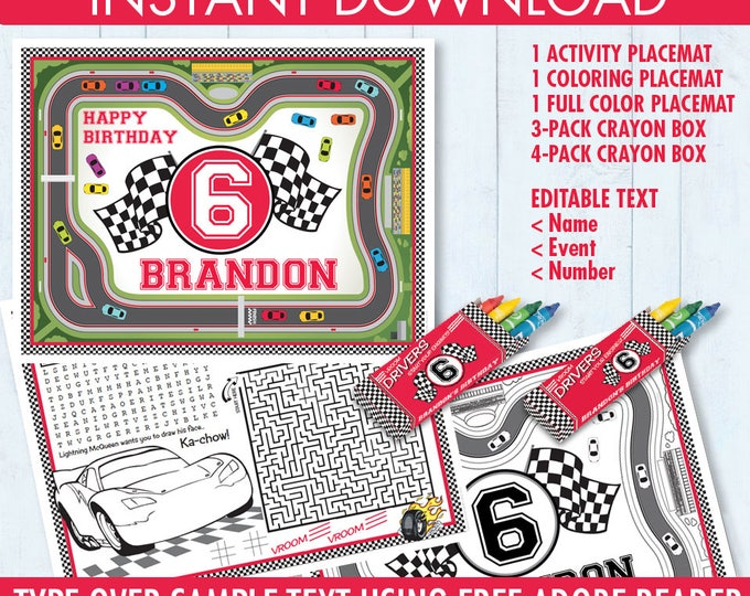 Cars Party Placemat - Race Car Party, Nas car Activity Page, Crayon Box, Game Placemat | DIY Printable Kit INSTANT Download PDF