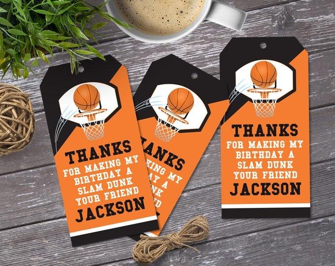 Basketball Favor Tag - Basketball Party, Basketball Birthday, Thank You Tag, Self-Editing | DIY Editable Text INSTANT DOWNLOAD Printable