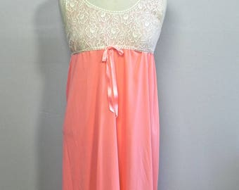 Vintage 60s Long Hot Peach Night Gown , 1960s Empire Waist Nighty Sm