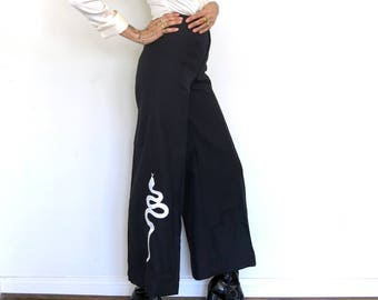 Snake Applique Pants / High Waisted Bells / XS