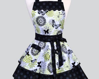 Ruffled Retro Pinup Apron - Womens Lime Green and Black Butterflies Vintage Style Kitchen Apron with Pocket to Personalize or Monogram