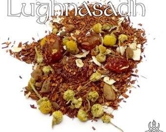 Lughnasadh Loose Tea - loose leaf rooibos tea, strawberry oatmeal, pagan holiday, Wiccan Sabbat, pagan altar offering, lammas