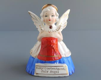 Vintage SR July Angel of the Month Figurine, Birthday Girl with Ruby Birthstone Holding Red Liberty Bell, Made in Japan