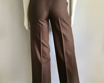 Vintage Women's 70's Brown, Polyester Pants, High Waisted, Wide Leg by Bobbie Brooks (XS)