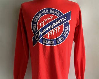 Vintage Men's 90's Red, Long Sleeve T Shirt, White (M)