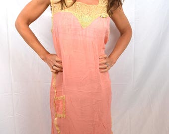 Vintage Silk Pink 1920s 20s 1930s RARE Nightgown Lingerie Dress