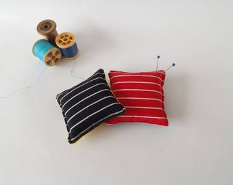 Recycled Fabric Swatch, Scrap and Offcut Pin Cushion with Eco Friendly Wadding, Red or Black Stripes Prints