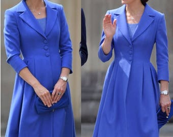 kate middleton blue dress swing rockabilly celeb inspired coat dress custom made