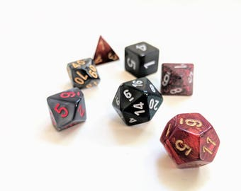 Polyhedral RPG Dice Set -- Infernal -- Dungeons and Dragons, Pathfinder, RPG dice set with free dice bag