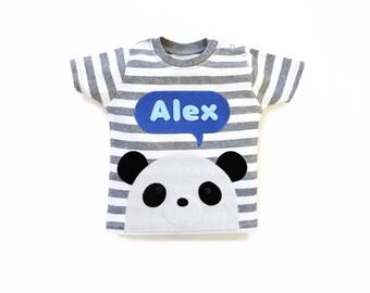 Personalized Panda T-shirt : Panda Baby Shower Gift, Panda Baby Boy, Panda T-Shirt