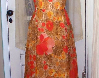 1960s/70s floral chiffon high neck sleeveless maxi dress