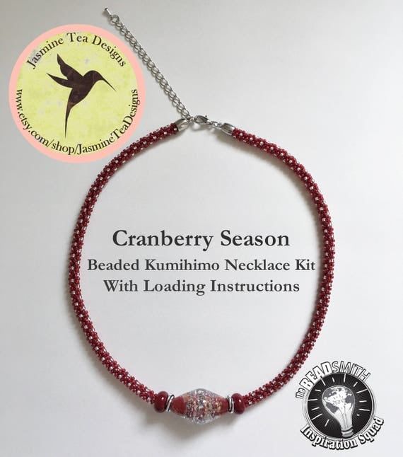 Cranberry Season Necklace Kit, A Beaded Kumihimo Necklace Kit With Focal Grouping In Cranberry Red And Silver