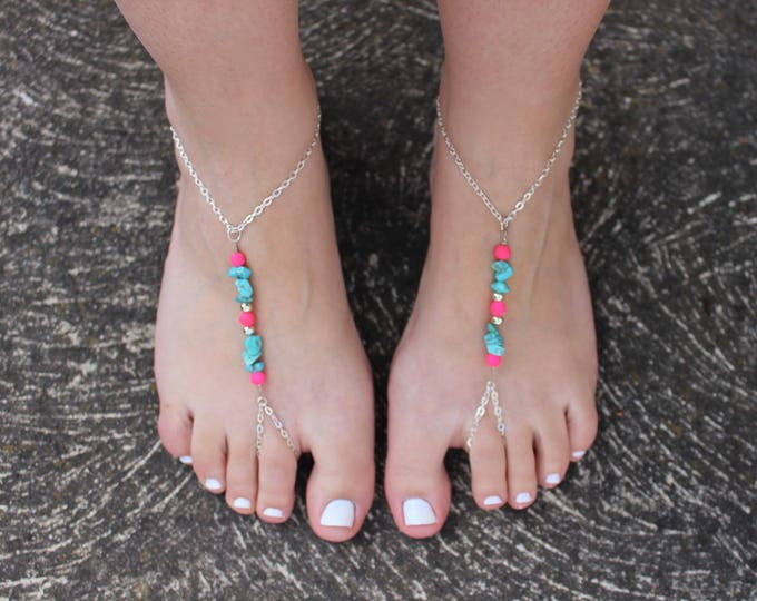 Turquoise Chip Stone and hot pink bead Barefoot Sandals.