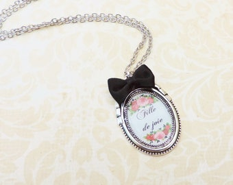 "Swear french words necklace ""fille de joie""  bronze"