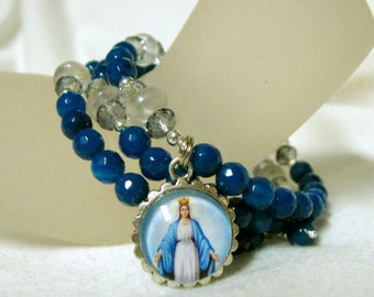 Blue faceted agate rosary wrap bracelet with Miraculous medal - WB01-446