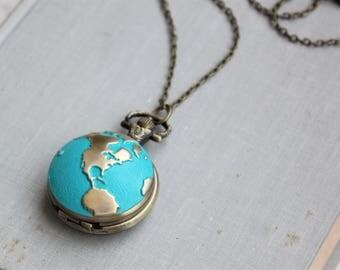 World Traveler Pocket Watch Necklace in Antique Brass.