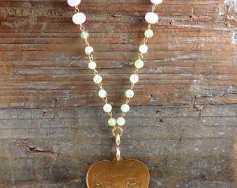 Vintage Heart Necklace, Large Heart Pendant, Valentine Necklace, Beaded Necklace, I Love You Heart, Kunzite Gemstone, Phrenite Beads
