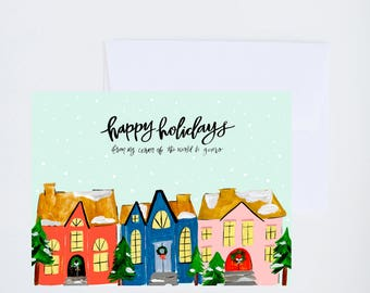 Holiday Greeting Cards - Happy Holidays - Christmas Village Illustration - Single A-2 Card