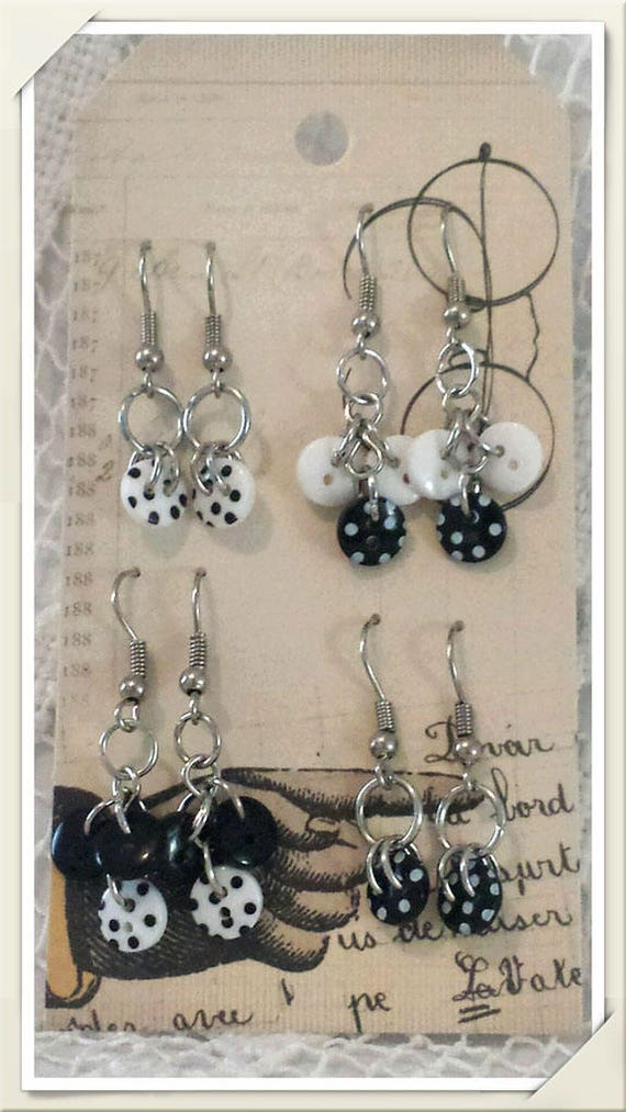 Black White with Polka Dots, Silver Hook/Dangle Earrings, 4 Assorted Pairs