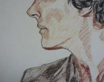 Sherlock blood drawing on paper Canson Benedict Cumberbatch