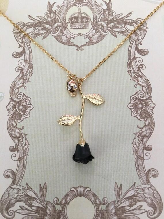 Black rose black rose necklace skull pendant halloween like this item aloadofball Gallery