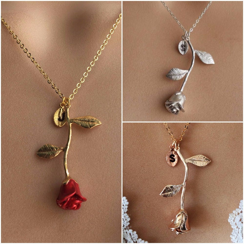 Original Beauty and the Beast Rose Necklace Rose Gold Rose