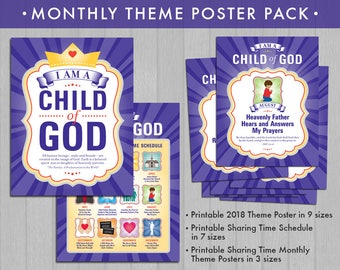 2018 LDS Primary Theme Monthly Poster Pack (Instant Download) - I Am a Child of God