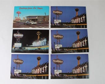 Lot 6 Mid Century Las Vegas NV Postcards Stardust Hotel Flamingo Hotel Day Night Scenes 1960s