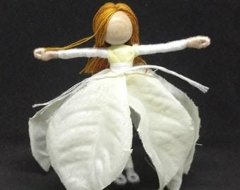 White Christmas Fairy -Poinsettia Fairy - Waldorf Flower Fairy Doll - Christmas ornament