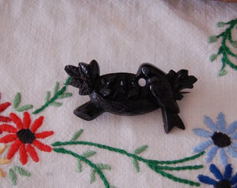 Antique Pin- Victorian Vulcanite Brooch - Bird with Nest - Mourning Pin