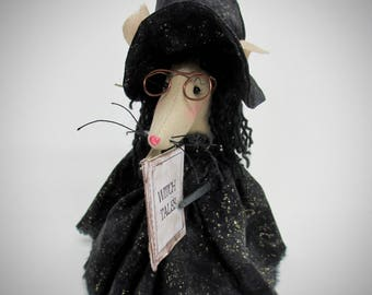 Primitive Halloween Mouse | Witch Mouse | Halloween decoration | Mouse decor | Day of the Dead | Rustic Halloween accent