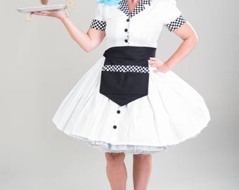 Car Hop Halloween Costume Retro 50s Pinup Pin Up Waitress Dress Apron Hat High Quality Womens Girls Adult Custom Size including Plus Sizes