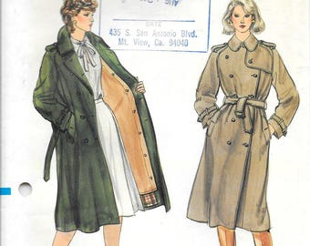 VOGUE 8121 UNCUT Size 16 Bust 38 Trench Rain Coat Double Breasted Detachable Lining Belted Classic Vintage 1980's Pattern