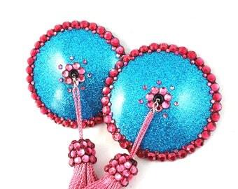 SAMPLE SALE Round Glitter Vinyl Rhinestone Nipple Pasties - Size S - SugarKitty Couture