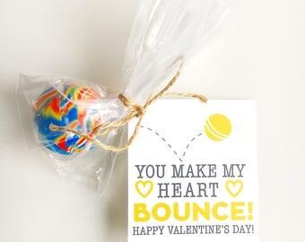 Bouncy Ball Valentine Printable DIY - MINI