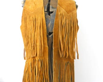 Vintage Leather Fringe Vest • 1970s Leather Vest with Long Fringe • Vintage Fringed Vest