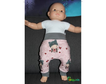 Baggy pants or harem baby from 0 to 6 doll neko and heart