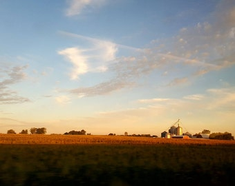 landscape photography, farm photo, America art, Americana, sky, wheat, silos, barns, country, rural, Michigan, Realism, rust, gold, blue