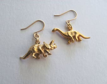 50% off everything! Gold dinosaur charm earrings 18k gold plated 3D charms, triceratops and brontosaurus or apatosaurus two different charms
