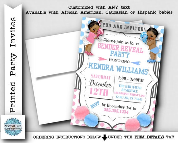 Printed Party Invitations Invite with Envelope Baby Gender – Printed Party Invitations