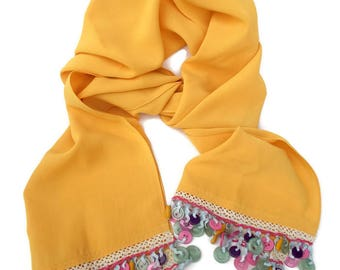 Yellow Scarf with Fringe, Unique Scarves for Women, Colorful Scarf, Gifts for Her, Unusual Scarves, Chiffon Scarf, Gift for Women, Handmade