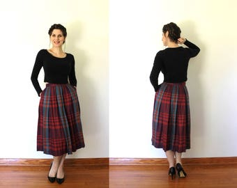 Vintage Plaid Skirt / 1980s Plaid Skirt / 1980s Skirt / 1950s Style High Waisted Colorful Pink and Purple Fall Plaid Pleated Full Skirt