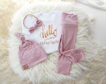 Rose gold and mauve bringing home baby girl outfit | girl coming home set | newborn girl outfit | rose gold baby girl | mauve baby outfit |