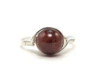 25% Off Sale LG Hessonite Garnet Gemstone Argentium Sterling Silver Wire Wrapped Ring