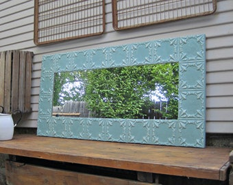 Tin ceiling Mirror, 2x4 Wall Bedroom Bathroom Mirror, Architectural salvage, Old weathered paint, Rustic, Shabby, French country decor